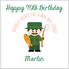 Personalised birthday card fisherman fishing 40th 50th 60th any name/message/age