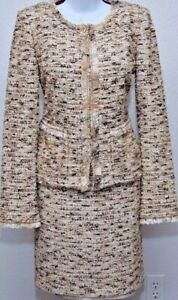 ST.JOHN Womens Beige Brown Boucle Knit Seguin Trim  Zip Jacket & Skirt Sz 6