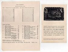 1938 FRITZ EICHENBERG Exhibition Flyer NEW SCHOOL Price List HERITAGE CLUB NYC