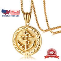 Men's Gold Color Stainless Steel Large Rope Anchor Pendant Necklace
