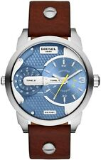 DIESEL DZ7321 Mini Daddy Blue Dial Dual Time Dial Leather Strap Men's Watch