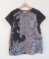 Allsaints Co Spitalfields UK10 US6 Grey Print Cap Sleeve Zip Detail Blouse Top