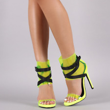 So Me ZULEYMA Yellow Strappy Buckled Clear Ankle Cuff Open Toe Stiletto Heel
