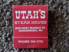 Utah's Steak House Greensboro North Carolina NC Matchbook Full Unstruck Book