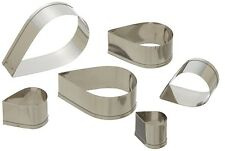Fox Run 6 pc Tear Drop Stainless Steel Cookie Cutter Set - Biscuit Pastry Mold