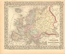 1874 ANTIQUE MAP - EUROPE SHOWING POLITICAL DIVISIONS