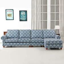 Classical Indoor Sofa Couch w/Chaise Blue & White Porcelain Home Decor