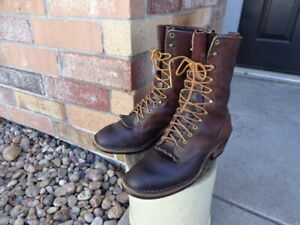 GREAT CONDITION NOT MUCH USED HATHORN LOGGER BOOTS BROWN 10.5 C MADE IN USA