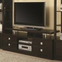 """Coaster 4 Drawer 60"""" TV Stand in Cappuccino and Silver"""