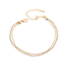 GOLD Anklet Chain Bracelet  Rows Ankle Stretchy Diamante Rhinestones UK