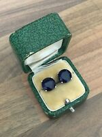 Lovely Pair of Marked Sterling Silver & Deep Blue Stone Stud Earrings 4gr