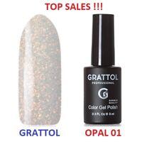 MEGA SALE! GRATTOL OPAL 01 Gel Nail Polish Glitter Color Coat 9ml LED/UV Opal #1