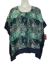 Faded Glory New Mixed Blues Loose Fit Poncho Scarf Top Plus Size 2X 18W 20W