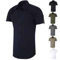 CLASSIC Mens Short Sleeve Slim-Fit Button-Down Casual Summer Shirt Size S M L XL