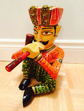 """9"""" - Hand Carved Wooden Decorative Multi-Colored Musician Playing Drums or Flute"""