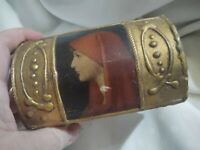 Hand Made Wood Jewelry VTG Trinket Box Hinged Lid Painted Art Antique Italy