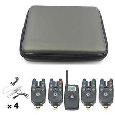 JY-19-SW Digital Wireless LED Fishing Alarm Alert Set 4 Bite Alerters 1 Receiver