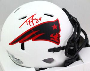 Ty Law Autographed New England Patriots Lunar Speed Mini Helmet- Beckett W *Red