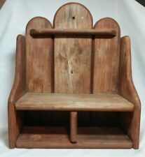 Wooden Shelf, Rough Primitive 2 Shelves Wall Hanging Made with Thick Wood Pieces