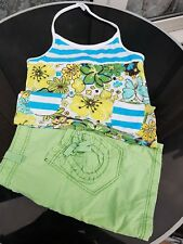 Summer Top & Skirt 12 Years Girls Casual Outfit Green Multi Summer Colours