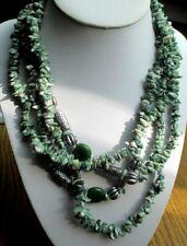 Rare grand collier sautoir 1,8 m pierres jade vert naturel ancien bijou vintage