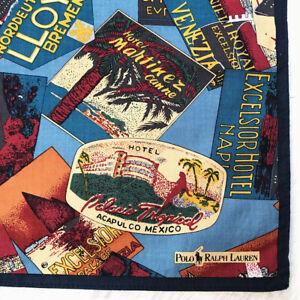 PoloRalph Blue Cotton Handkerchief Print Ad Hotel Travel Mexico Bandana Square