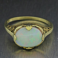 1880s Antique Victorian Estate 10k Solid Yellow Gold 9mm Opal Filigree Ring