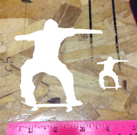 "Skate Skater Skateboard Sticker Decal Graphic ride 4"" White Die Cut 2 for 1"