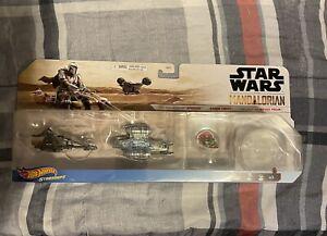 🔥FREE SHIP🔥 Hot Wheels Star Wars Starships 3-Pack Mandalorian Vehicles