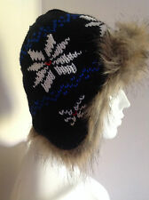 BRENTON KNITTED FUR TRAPPER HAT    SMALL     NEW