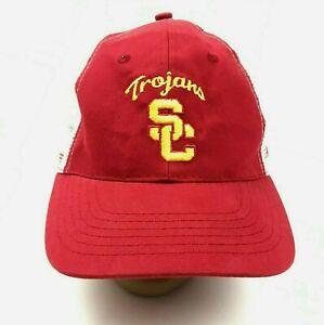 VINTAGE USC Trojans Hat Cap Snapback Trucker Maroon Red Yellow Embroidered Mens