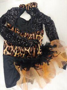 Weissman Black Leopard Sequin Feather Leotard Dance Costume Child's XLC XL