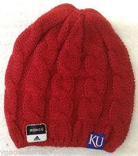 online retailer 03385 b2f82 NCAA Kansas Jayhawks Adidas Womens Cuffless Winter Knit Hat Cap Beanie NEW!