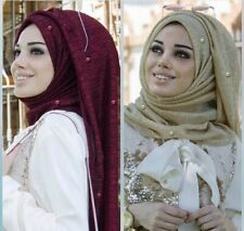 Lurex Glitter Scarves With Bead Pearl Plain Pleat Shimmer Elastic Fashion Hijab