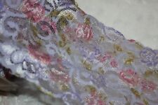 """1 yard lavender white Pink Floral lingerie stretch sewing trim lace 5.5"""" wide"""