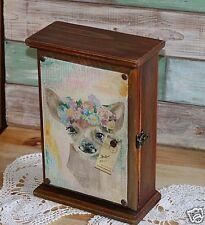 Wooden Key Box Watercolor Roe- Decoupage Wall Decor Key Cabinet, Key hook hanger