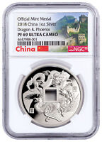 2018 China Dragon & Phoenix 1 oz Silver PF Medal NGC PF69 UC Great Wall SKU52116