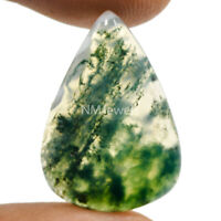 Cts. 13.25 Natural Landscape Moss Agate Cabochon Pear Cab Loose Gemstone