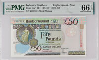 NORTHERN IRELAND 50 POUNDS 2004 P 81 a* REPLACEMENT GEM UNC PMG 66 EPQ