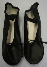 Roch Valley Ophelia Black Leather Ballet Shoes With Pre Sewn Elastics UK 11 Child