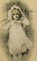 Vintage Little Girl Bonnet in Field Postcard Hand Colored Blond Hair Unposted