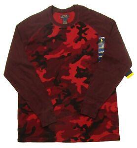 Polo Ralph Lauren Men's Red Camo Soft & Light Waffle Thermal Raglan Crew Shirt