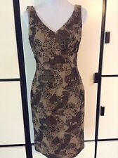 Andre Oliver Black Gold Black Metallic Paisley Brocade Sleeveless Lined Dress 4
