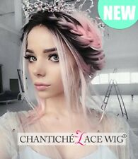 Long Wavy Ombre Pink Lace Front Wigs Dark Roots Synthetic Wigs For White Women