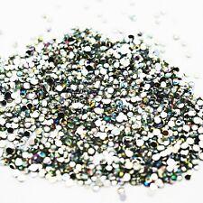 1000 Crystal IRIDESCENT AB 1.5mm Rhinestone Gem Acrylic silver flat back beads