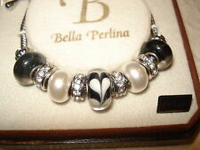 BELLA PERLINA CHARM BRACELET BLACK HEART GLASS BEADS JEWELRY  BIRTHDAY GIFT IDEA