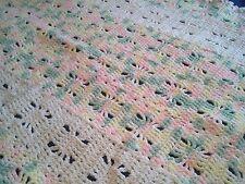 Afgan CROCHET Handmade Baby Throw Blanket 45 x 31 Pink White Yellow