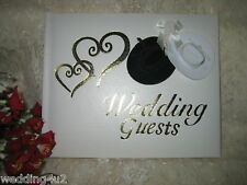 Wedding Ceremomy Reception Party Western Gold Hearts Cowboy Hat Guest Book