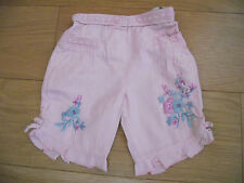 Monsoon embroidered pink trousers, 0-3 months