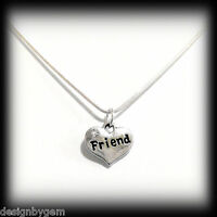 Friend diamante heart silver plated necklace for birthday christmas gift present